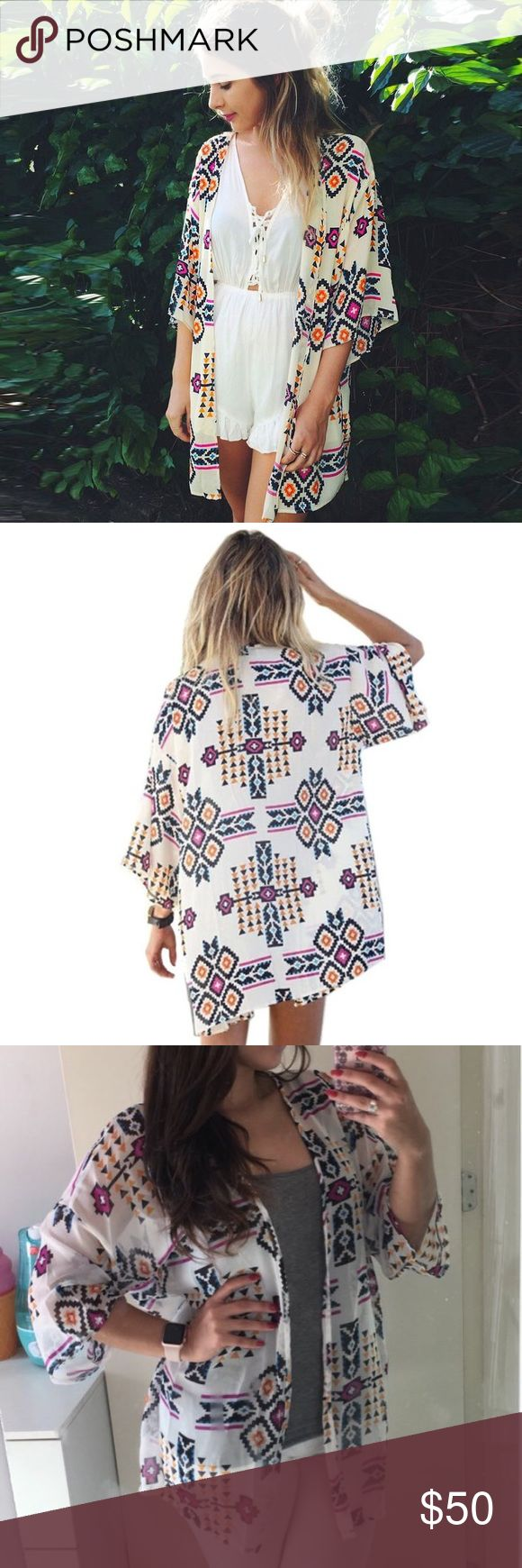 """Tribal Print Sheer Kimono Cardigan Beach Coverup Beach beautiful! Semi-sheer summer kimono or beach coverup with an adorable black/orange/fuchsia purple multicolor trendy tribal print! Open front and wide half-sleeves. Semi-sheer chiffon-like polyester.   One size, easily fits size S-XL. App. 36.6"""" length.  No trades/holds. Boutique Swim Coverups"""