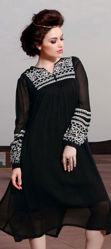 449461 Black and Grey color family Kurti in Faux Georgette fabric with Machine Embroidery, Resham work .