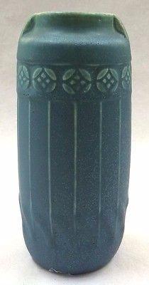 1912 Early Rookwood Pottery blue green matte glaze vase arts crafts vtg 1747