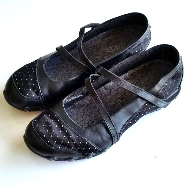 Skechers Ladies 9.5 Black Bikers Mary Jane Flat Casual Shoes Cross Strap Loafers #Skechers #MaryJanes #Any