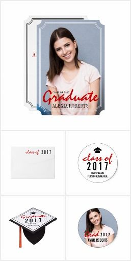 Graduate #Classof2017 red and black handwritten #graduation invitation and matching items collection