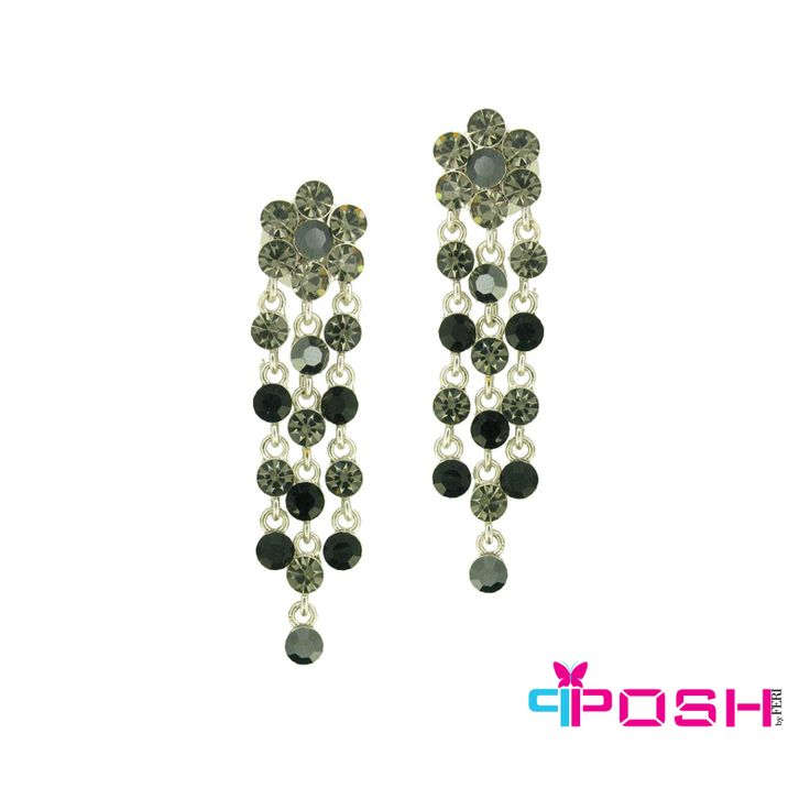 Talia - Crystal Flower petals with crystal dangle accents Drop Earrings - multi colours of stone, Black , Grey used - 6 x 1.5 cm $30 #earrings #jewelry