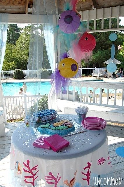 Lanterns as fish-Under The Sea Birthday Party Ideas | Under the Sea and Magical Mermaid Simple Birthday Party - Uncommon ...