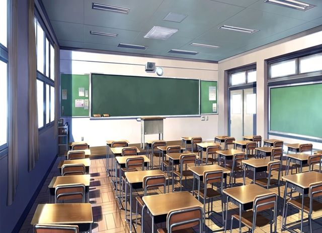 Classroom, Scenery, Background, Anime Background, Anime Scenery, Visual Novel Scenery, Visual Novel Background
