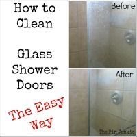 Clean Glass Shower Doors Easy Way:  equal parts Dawn and vinegar in a spray bottle, sprayed onto the glass and rubbed with a sponge.
