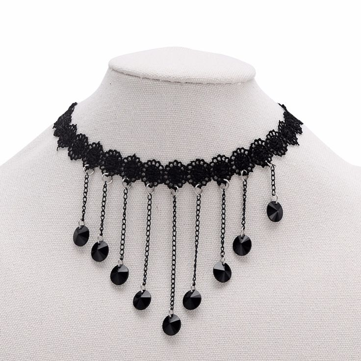 Find More Choker Necklaces Information about Short Cloth Lace Tattoo With Dangle Black Crystals Newstyle Choker Necklace Eelgant Gothic  Design Gift For Women,High Quality gifts for women,China choker tattoo Suppliers, Cheap necklace tattoos from Winslet&Jean on Aliexpress.com