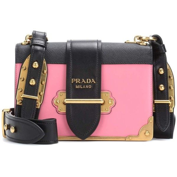Prada Cahier Leather Shoulder Bag ($3,085) ❤ liked on Polyvore featuring bags, handbags, shoulder bags, pink, leather cross body purse, leather shoulder bag, leather crossbody, leather crossbody purse and leather handbags