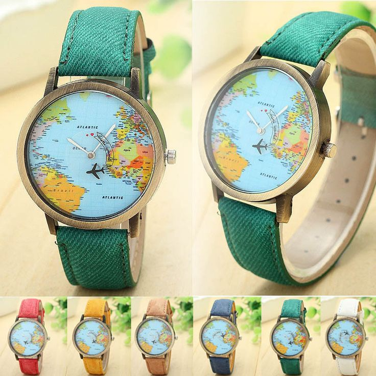 Ladies Global Travel By Plane Map Watch With Denim Fabric Band