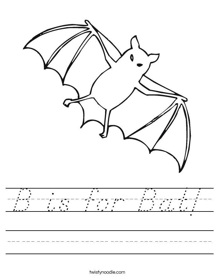 b is for bat worksheet d nealian twisty noodle | Halloween ...