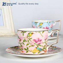 2016 Luxury Gold Rim Print Bulk Home Use Turish Style Ceramic Wholesale Tea Cup And Saucer
