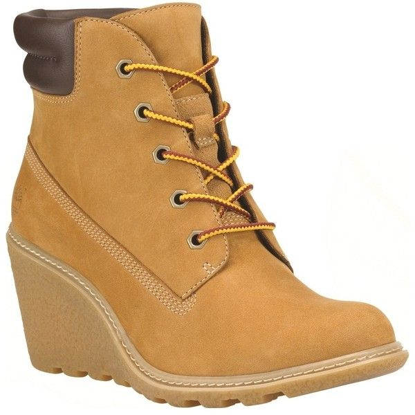 Women's Timberland Earthkeepers Amston Wedge Boots - Wheat (225 CAD) ❤ liked on Polyvore featuring shoes, boots, wedge sole boots, silver shoes, wedges shoes, lace up wedge boots and high heel boots