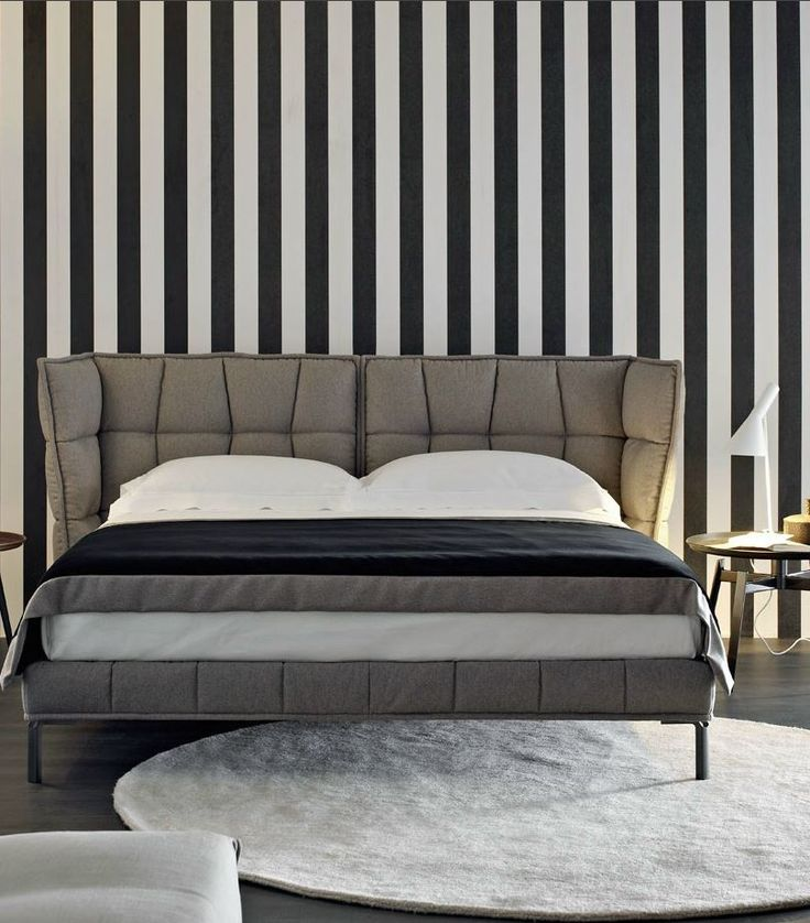 Contemporary Home Style By B B Italia: Fabric Double Bed With Upholstered Headboard HUSK By B&B