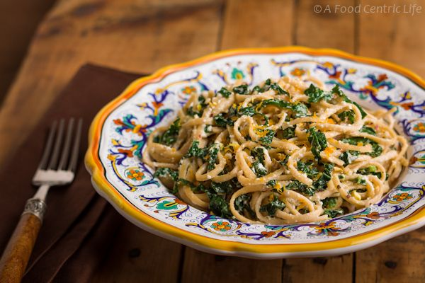Creamy lemon pasta with kale, ricotta, lemon olive oil, pistachios and Parmesan. Vegetarian main dish or nice side dish with chicken.