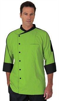 Style # 49559: APPLE GREEN W/ BLACK: Men's Raglan 3/4 Sleeve Chef Coat - Snap Front Closure - 65/35 Poly/Cotton