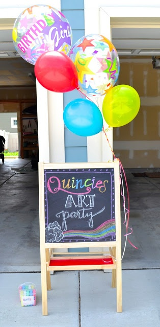Children's party inspiration: Art Party! Includes painting on canvas, sidewalk chalk drawing and the game Twister. Lots of pics for ideas. Even the birthday cake is nice.