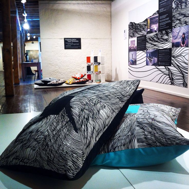 Big fat and fun Topology Design floor cushions at the 'through the door' exhibition at the Salamanca arts center