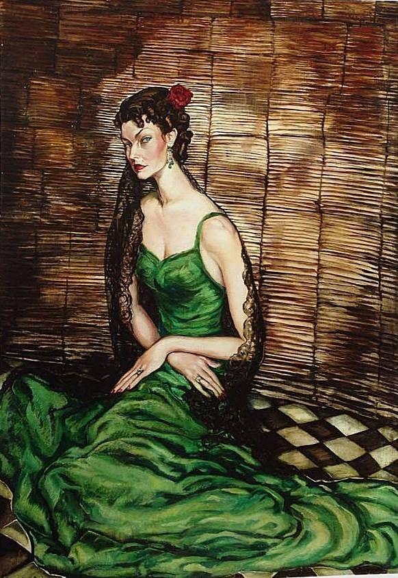 Batthyány, Gyula (1887-1959) - Green Dressed Lady with Black Lace Shawl, c. 1940