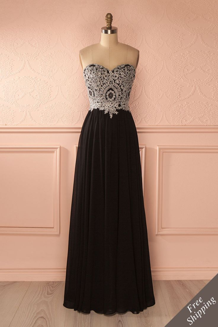 Robe de bal longue noire buste brodé de cristaux - Black crystals embroidered bust prom dress
