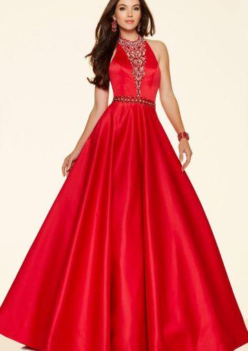 Cheap and Australia 2016 Red Halter Neckline Beaded Taffeta Floor Length Evening Dress/ Prom Dresses 98135 from Dresses4Australia.com.au