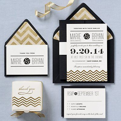 Gold Chevrons Wedding Invitation - Marie & Bryan | Paper Source