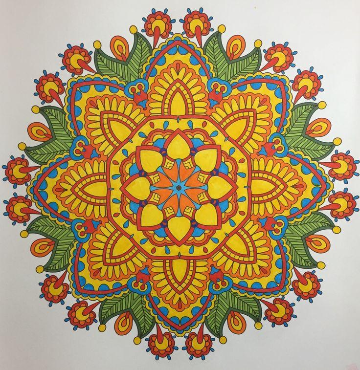 "Mandala from ""Mood Enhancing Mandalas (Volume 1)"". Staedtler Marsgraphic 3000 Markers; Faber Castellanos Big Brush (greens). B. Holmes, 2016. #mandala #adultcoloring"
