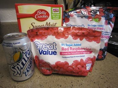Berry Cobbler:  2 - 12 oz bags frozen mixed berries, 1 box white cake mix, 1 can diet Sprite, or 7-up  Spray 9X13 pan with Pam. Place frozen fruit in pan. Add dry cake mix over the top. Pour soda slowly over cake mix. DO NOT stir the cake mix & the soda - this will give you a 'crust'. If you stir the two, you will have a cake like topping. Bake 350 for 45-50 min.  Serves 16