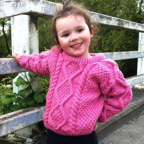 Sinead aran sweater for girls and boys PDF knitting by PurplePup