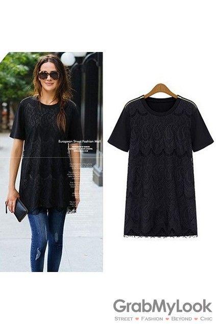 GrabMyLook Paisley Crochet Lace Black White Short Sleeves T-Shirt Tee