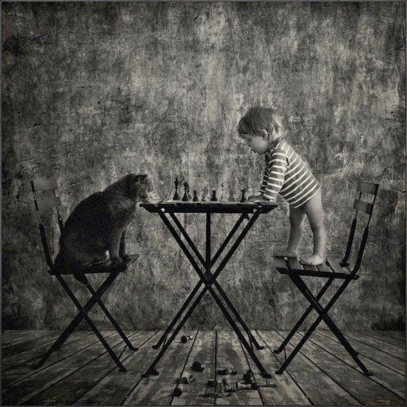 Belle amitié entre un enfant et son chat - Journal du Design