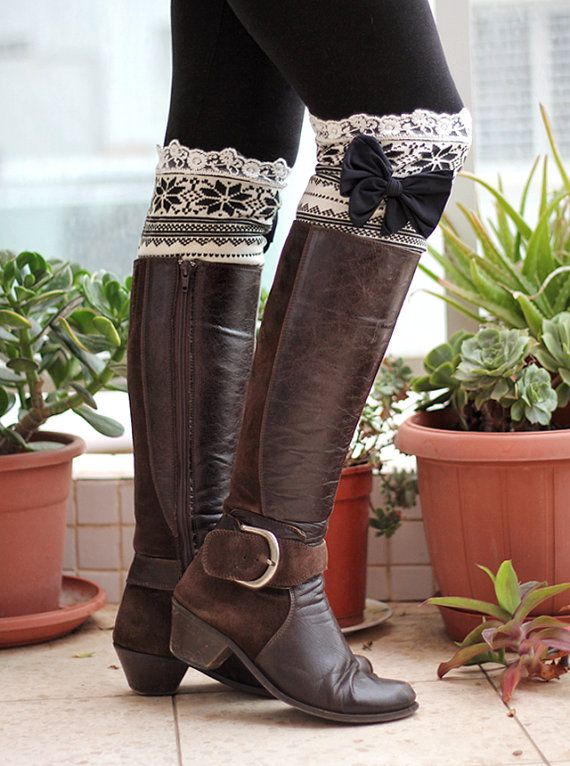Knitted Lace Band with bow Leg Warmer Boot Topper