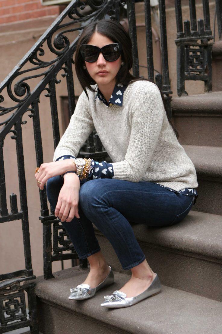 <Spring Forward> http://mariaonpoint.com/spring-forward/ @jcrew fleecker sweater + toothpick jeans, @zaraofficial metallic flats