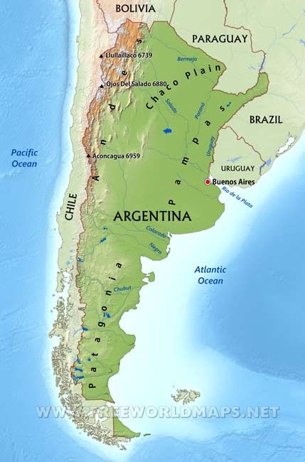 Patagonia South America >> Argentina Physical Map | Argentina map