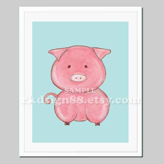 Farm nursery art print, baby nursery decor, kids wall art, baby decor, children art print, farm decor, pig art, blue - My Oink Oink 8x10