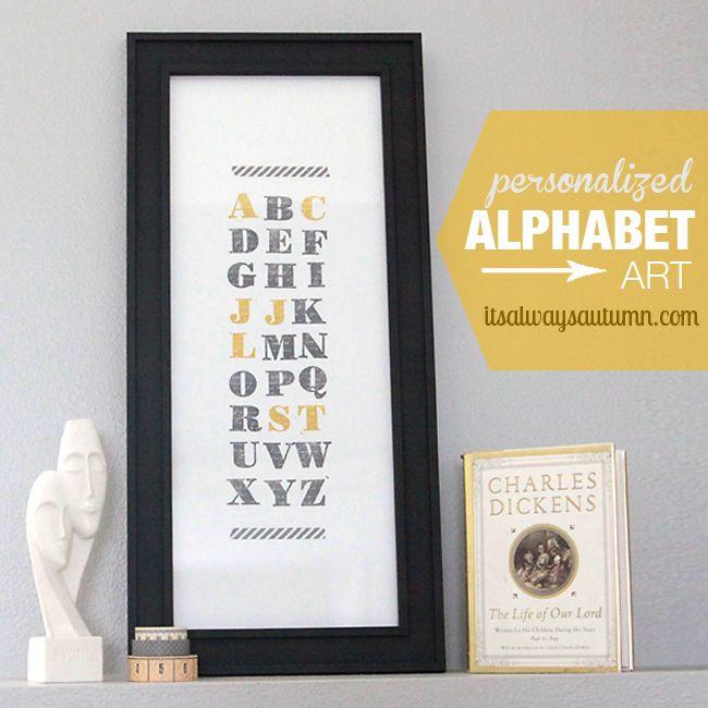 family initials alphabet art