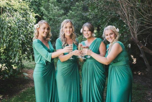 Bridesmaids Wearing Jade Green