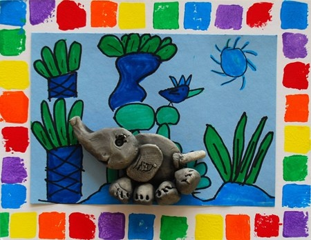 Elmer the Clay Elephant: let op achtergrond! met een kleurplaat....