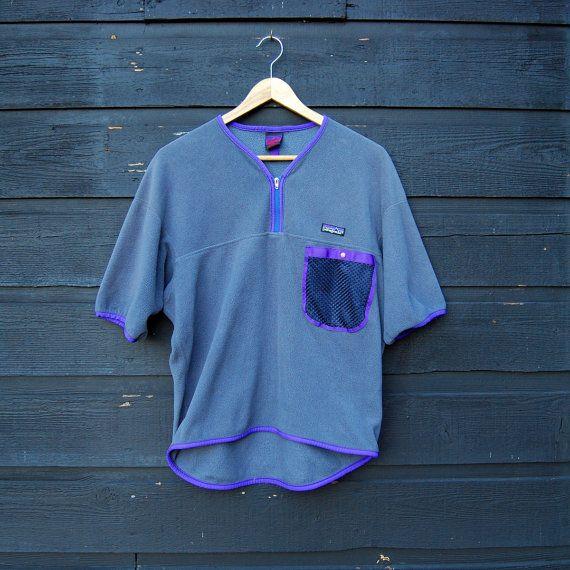 Vtg Fleece Patagonia Shirt, Womens Mens Medium Large Grey + Purple Short Sleeve Fleece Patagonia Top USA, Running Hiking Camping Outdoors by SurfandtheCity