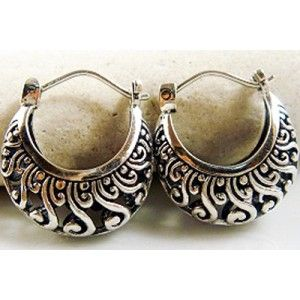 Antique style 9.25 Silver Hoop Earring9mm wide x 10mm high www.deliceandcreed.com