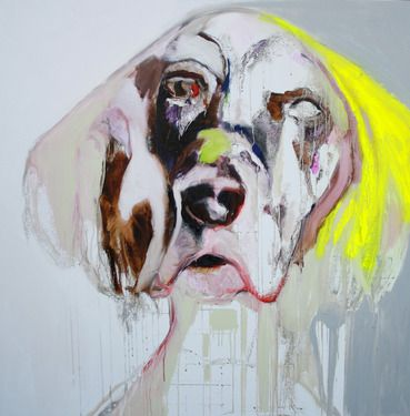 "Saatchi Online Artist Patricia Derks; Painting, ""YELLOW DOG(sold)"" #art"