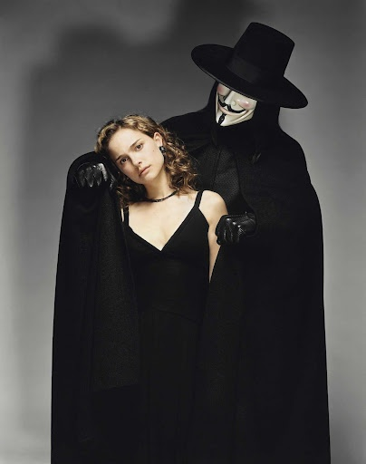"Natalie Portman with Hugo Weaving in ""V For Vendetta"" (2005)"
