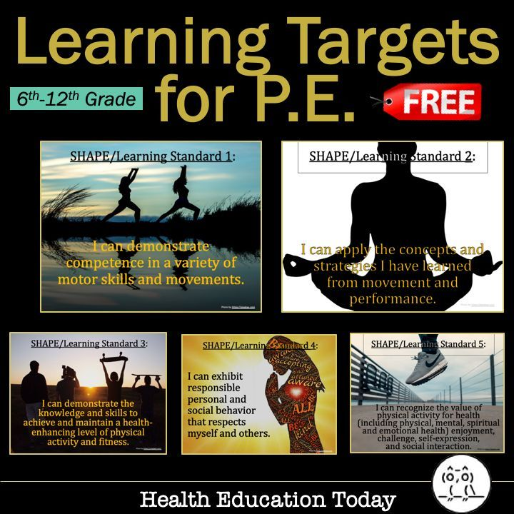 How to Create Learning Targets for P.E. FREE! 5 Posters