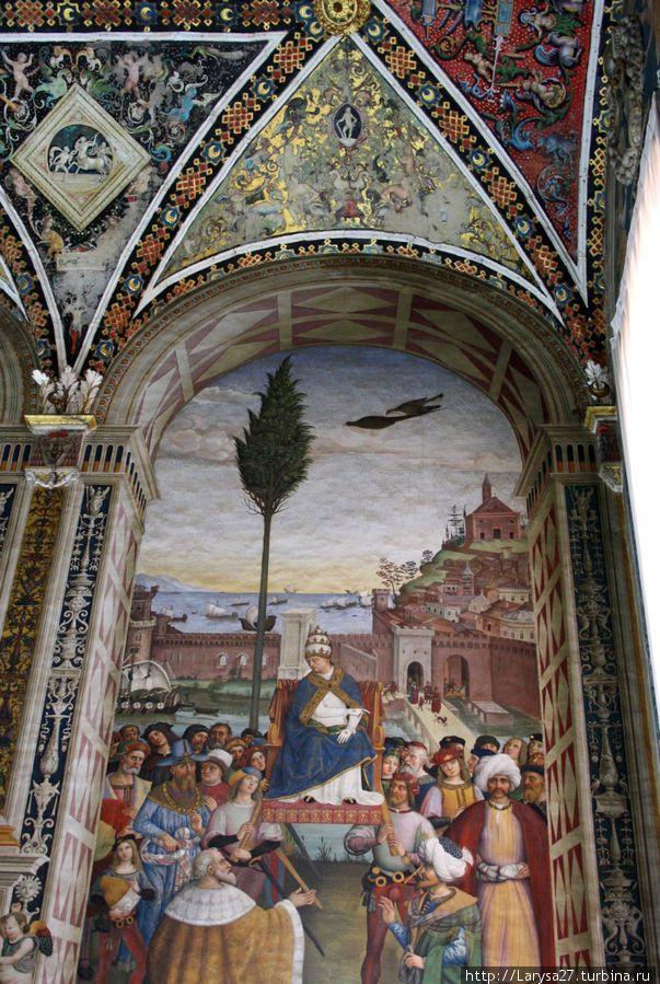 Цикл фресок о жизни и деяниях Энеа Сильвио Пикколомини, папы Пия II, в библиотеке Сиенского собора. Папа Пий II прибывает в Анкону.
