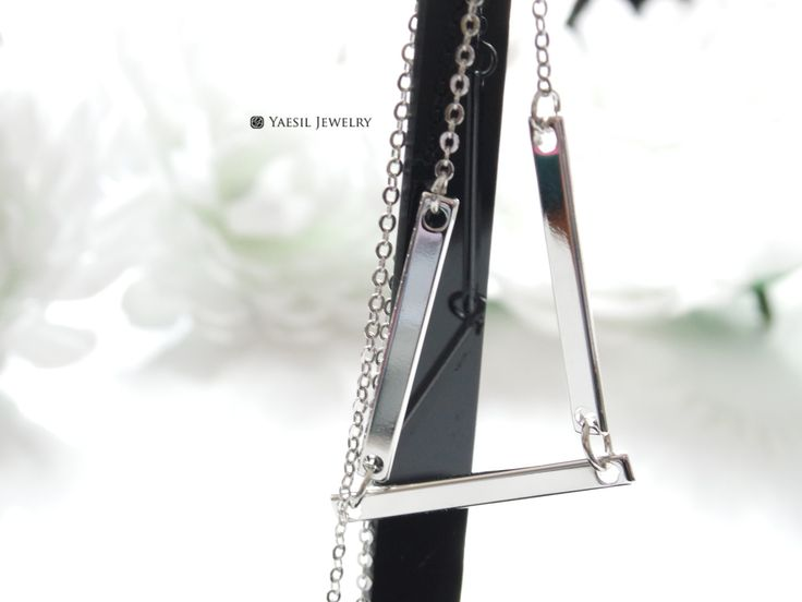 Triple Flat Bar Necklace by YaesilJewelry on Etsy