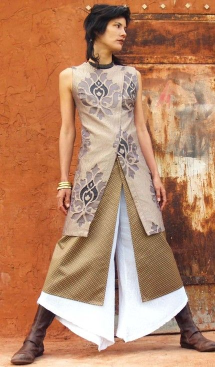 The WOMAN WARRIOR TUNIC- Womens tunic-Evening wear-Wedding gown-Elegant evening wear-Art to wear-Asian style. $145.00, via Etsy.