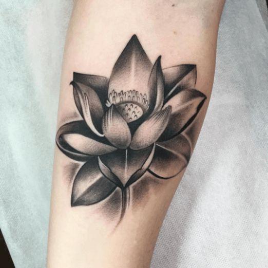 Flower Tattoo : Black And Grey Tattoo Of Flower Lotus Tattoo At Hand Tattoo…