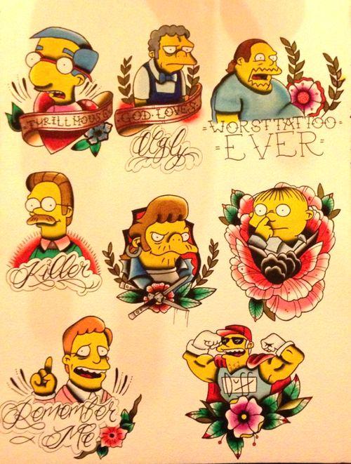 Simpsons Tattoo Flash Art