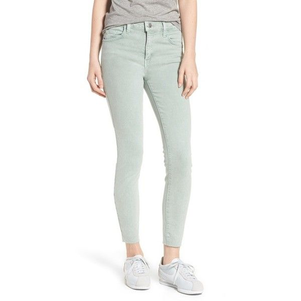 Women's Current/elliott The High Waist Ankle Skinny Jeans ($198) ❤ liked on Polyvore featuring jeans, iceberg green, white skinny jeans, high rise white skinny jeans, white cropped jeans, high-waisted white jeans and cropped skinny jeans
