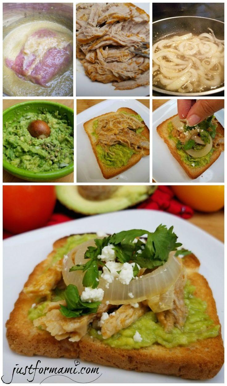 Pan Tostado con Guacamol y Cochinita Pibil una receta fácil para el almuerzo o la cena.  #VidaAguacate #ToastYourHeritage #ad