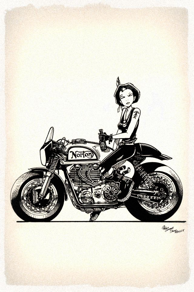 pinterest.com/fra411 #bike #art - Tank Girl on a Norton, does it get any cooler?