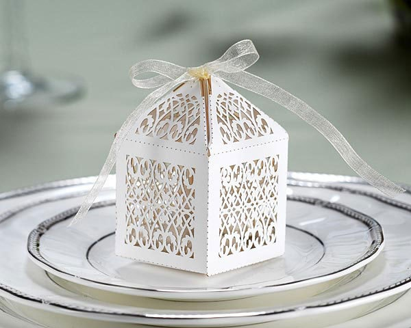 20 White Filigree Laser cut-out wedding sweet gifts favour/favor box & ribbon ties. $20.00, via Etsy.